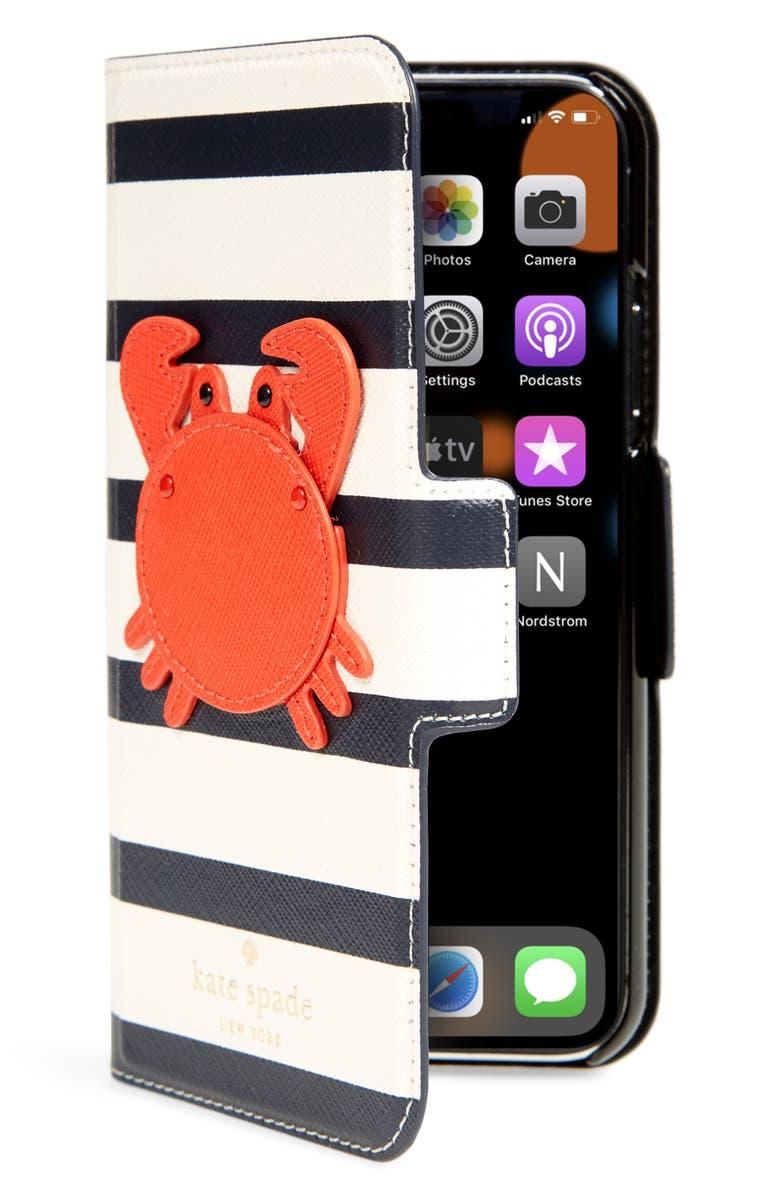 the latest e5971 89eec kate spade new york crab appliqué iPhone X folio case | Nordstrom