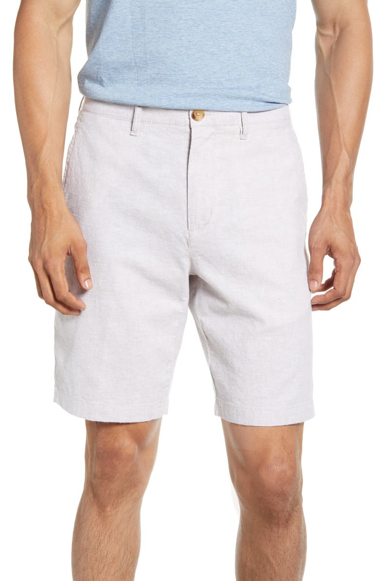 NORDSTROM MEN'S SHOP Linen Blend Chino Shorts, Main, color, TAN THREAD LINEN