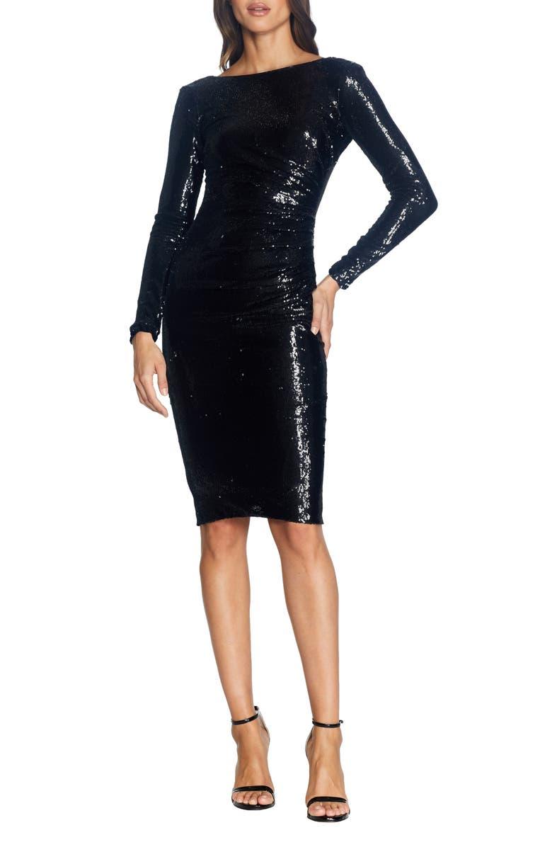 DRESS THE POPULATION Emilia Sequin Long Sleeve Cocktail Dress, Main, color, 010