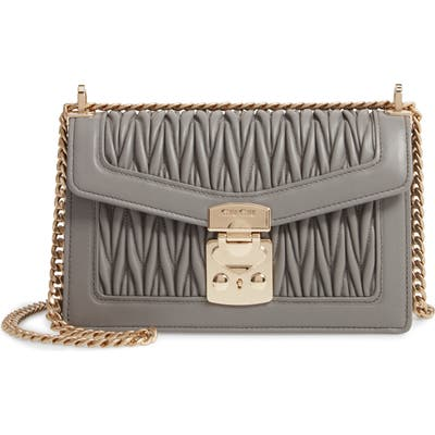 Miu Miu Matelasse Leather Crossbody Bag - Grey