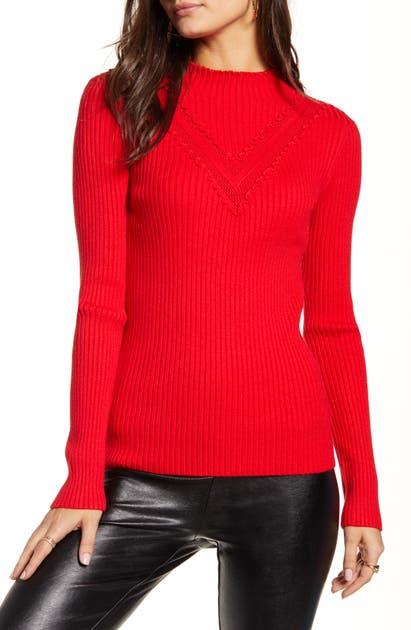 English Factory Mini Ruffle Sweater In Red