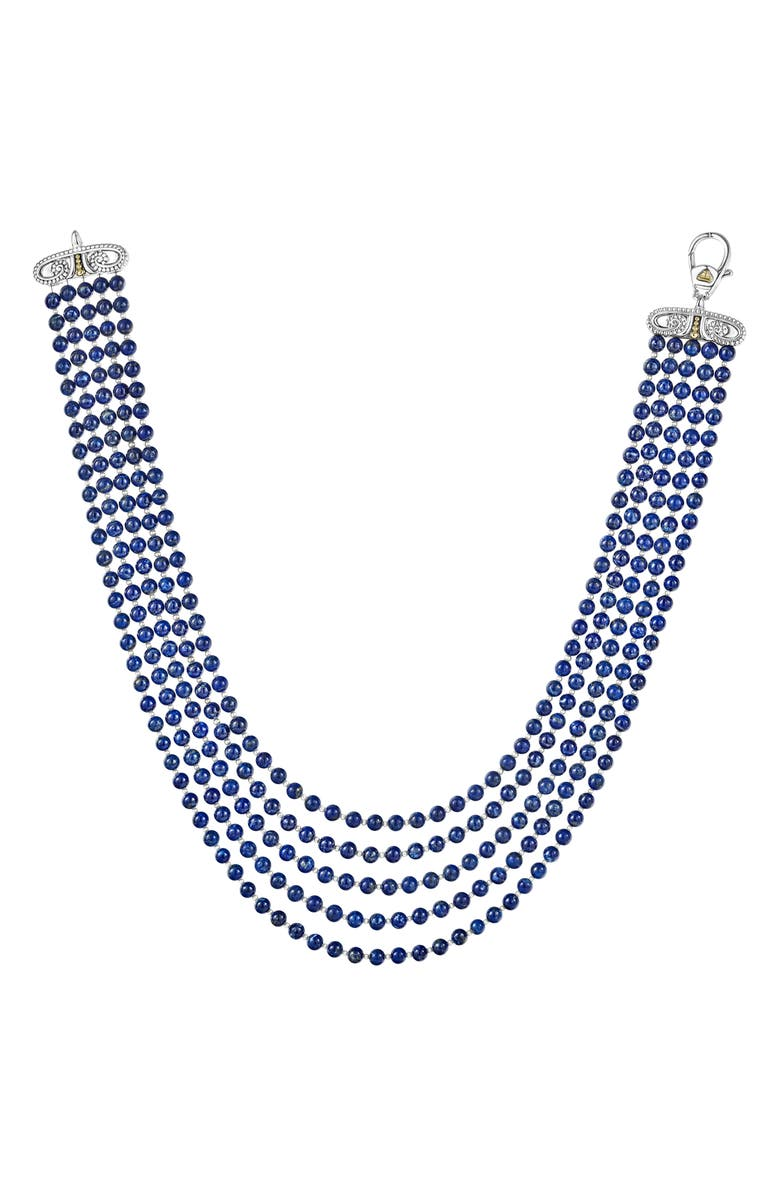 LAGOS Caviar Icon Beaded Five Strand Necklace, Main, color, SILVER/ LAPIS