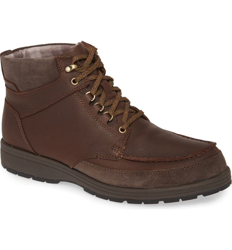 HUSH PUPPIES<SUP>®</SUP> Hush Puppies Beauceron Water Resistant Moc Toe Boot, Main, color, DARK BROWN WP LEATHER