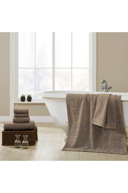 Image of Modern Threads Yarn Dyed Diamond Gate 6-Piece Towel Set - Taupe