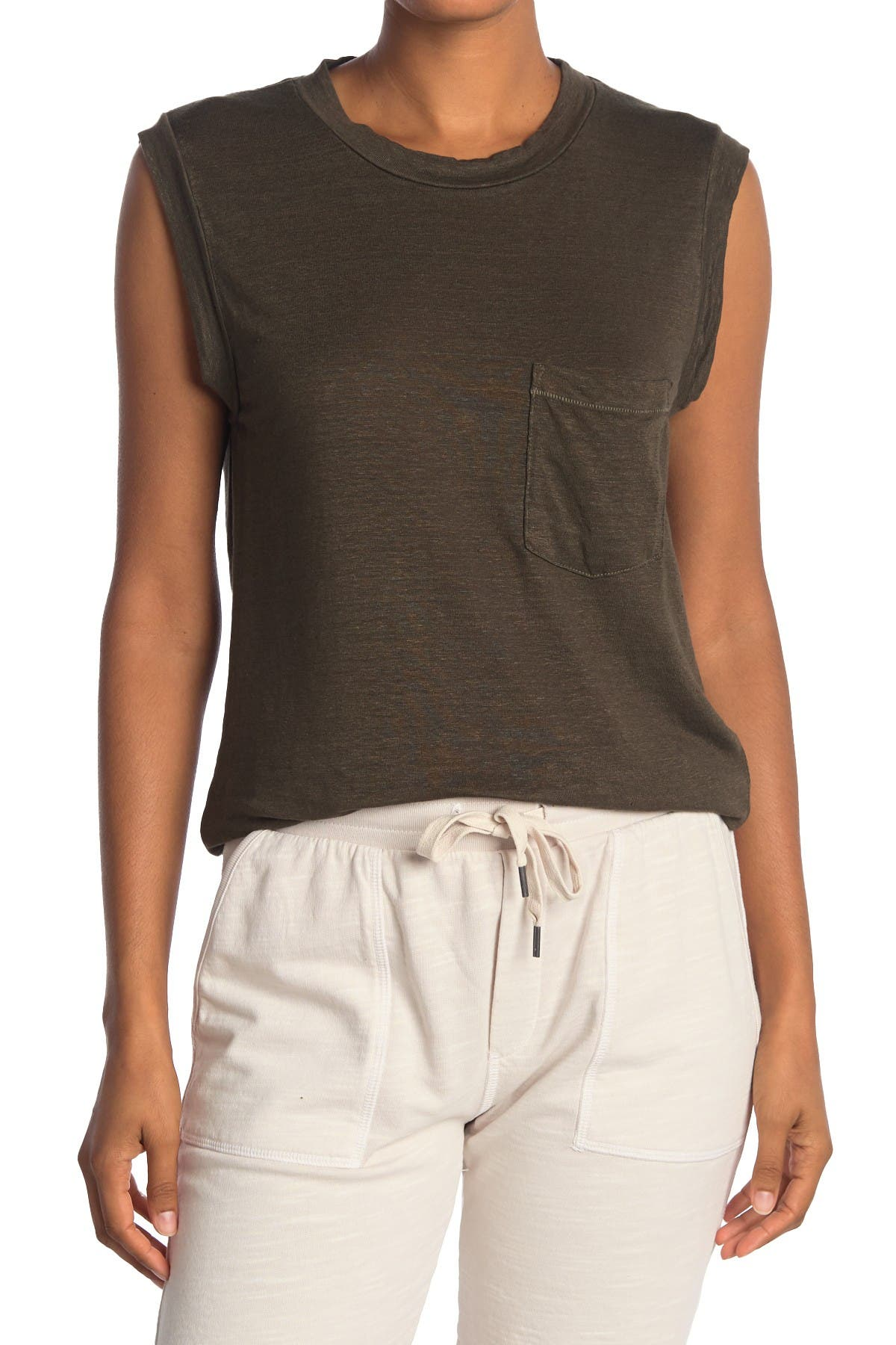 Image of NSF CLOTHING Claire Linen Blend Muscle Tank