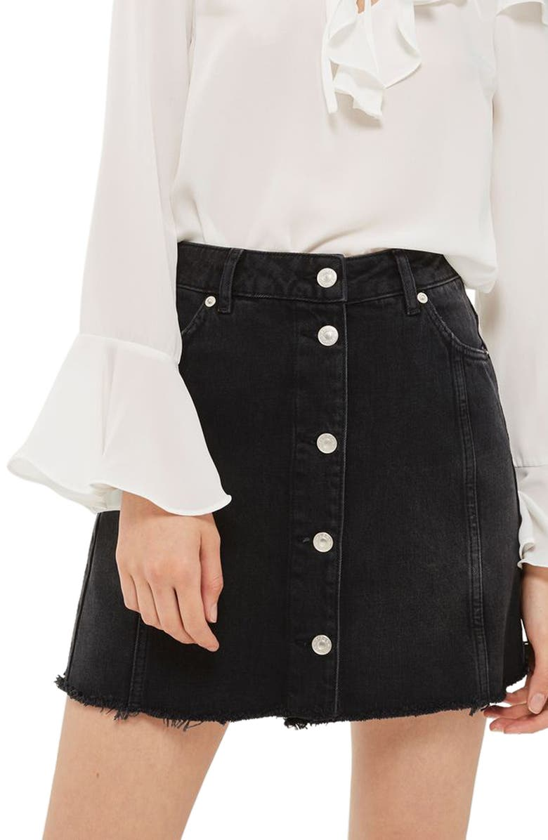TOPSHOP Button Front Denim Miniskirt, Main, color, 001