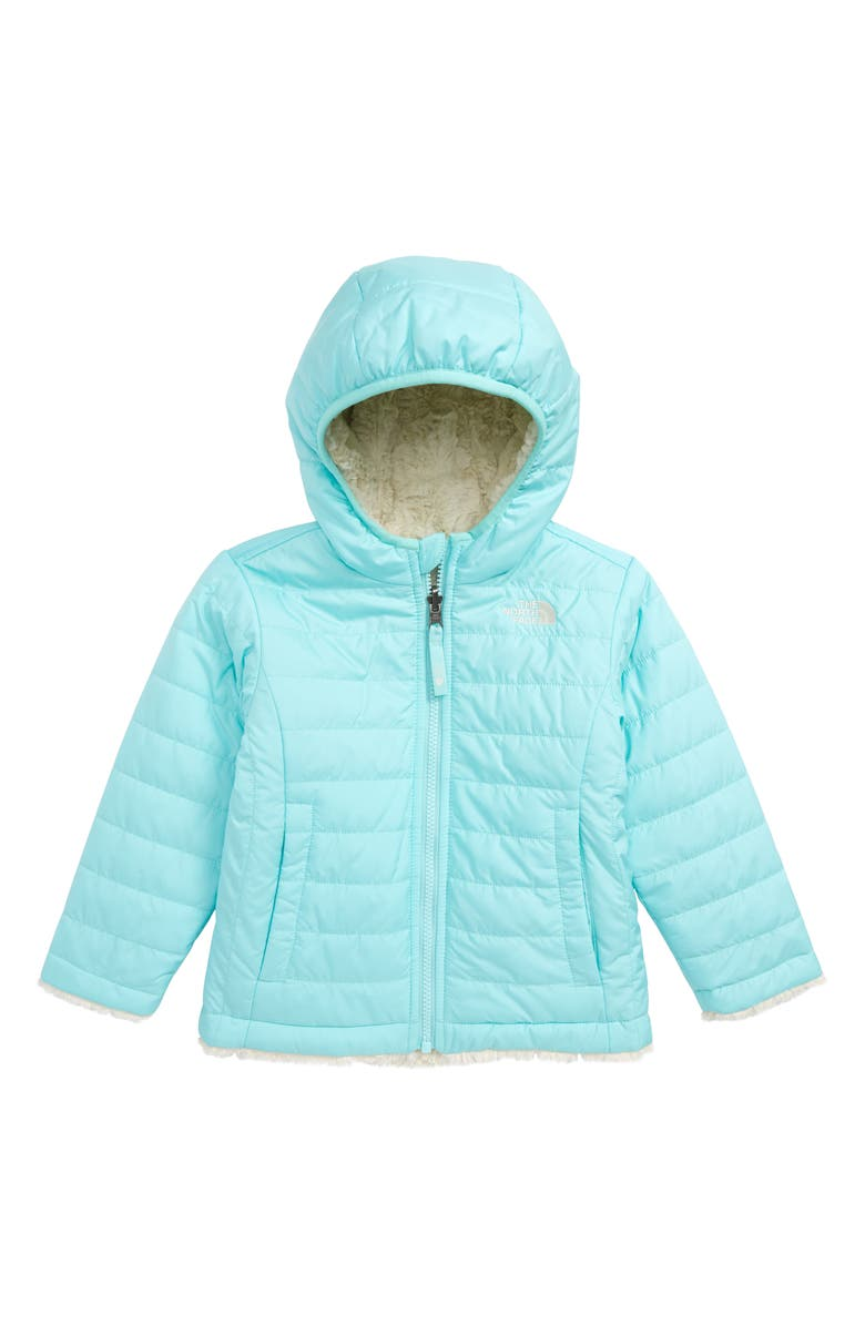 THE NORTH FACE Mossbud Swirl Reversible Water Repellent Heatseeker<sup>™</sup> Jacket, Main, color, BREEZE BLUE