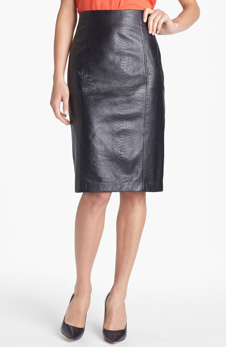 HALOGEN<SUP>®</SUP> Embossed Leather Pencil Skirt, Main, color, 001