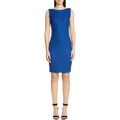 St. John Collection Gridded Texture Knit Sheath Dress, 8 (similar to 1-16W) - Blue