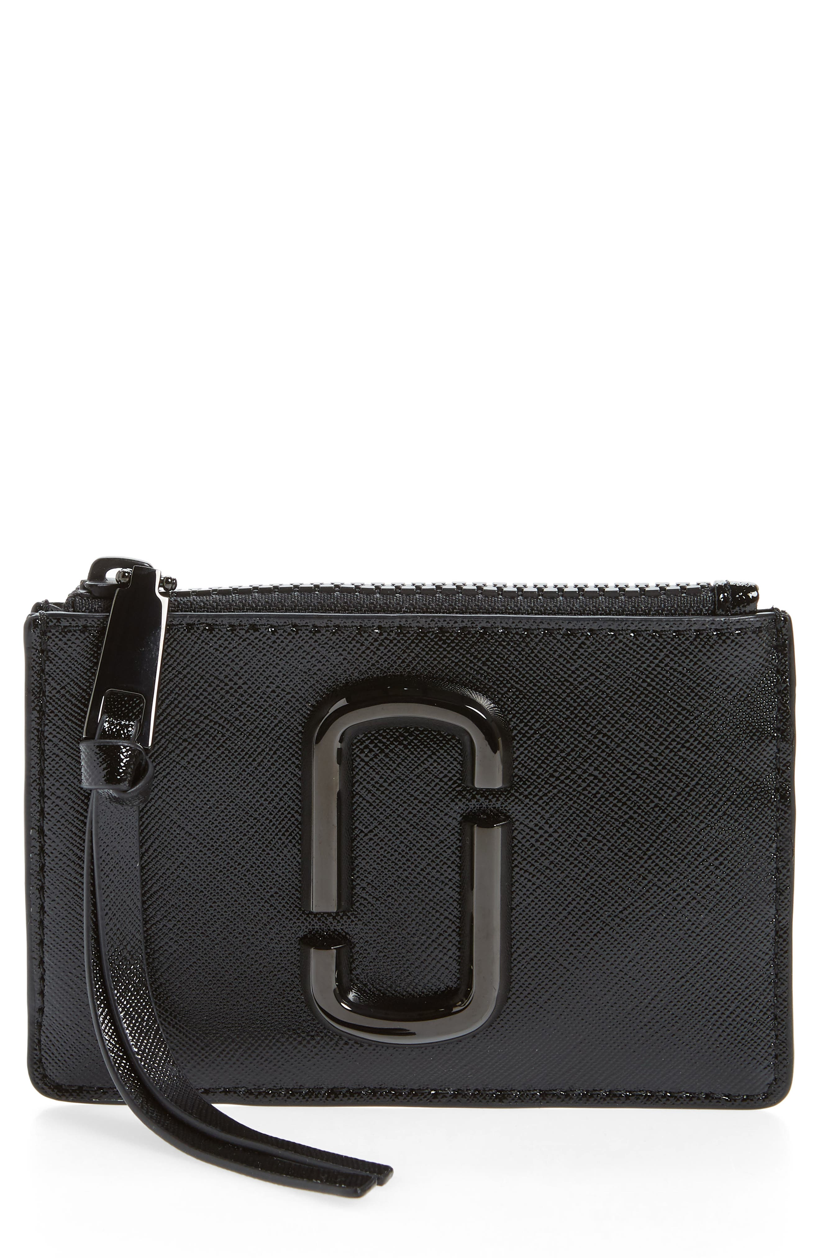 ,                             Saffiano Leather ID Wallet,                             Main thumbnail 1, color,                             BLACK