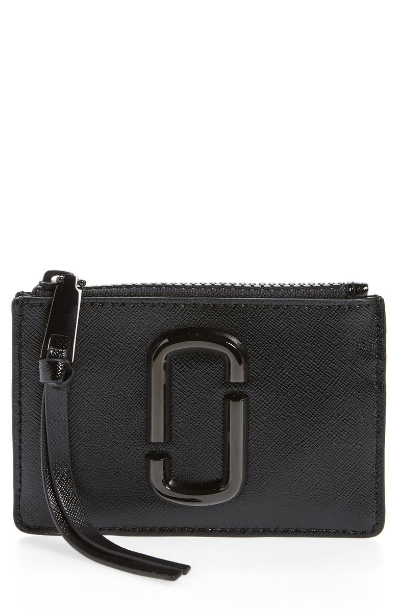 THE MARC JACOBS Saffiano Leather ID Wallet, Main, color, BLACK
