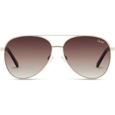 Quay Australia Vivienne 60Mm Aviator Sunglasses - Gold/ Brown