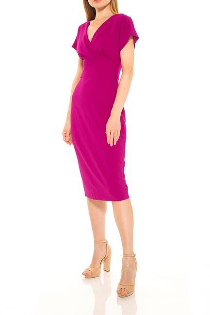 Image of Alexia Admor Naomi Drape Surplice Neck Sheath Dress