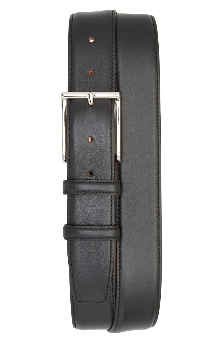 SANTONI Vitello 3 Leather Belt, Main, color, BLACK