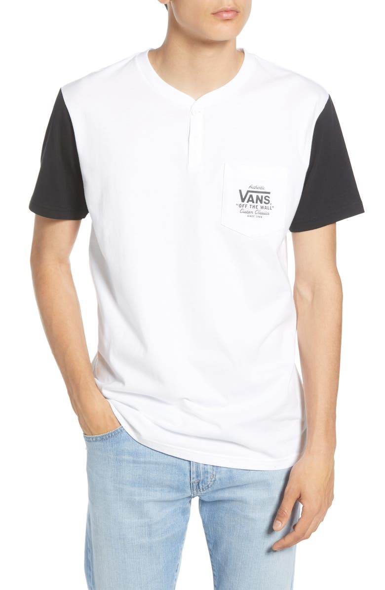 VANS Briggs Pocket Henley T-Shirt, Main, color, WHITE/ BLACK