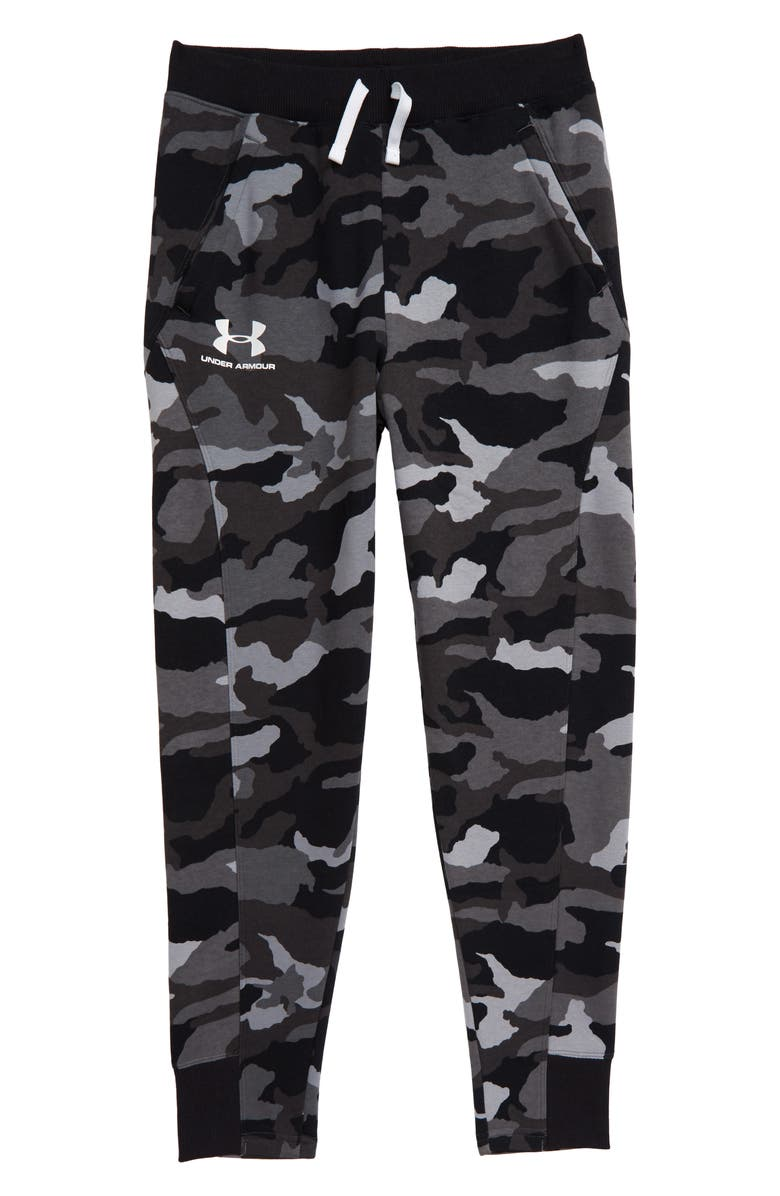 UNDER ARMOUR Rival ColdGear<sup>®</sup> Camo Print Jogger Pants, Main, color, 001