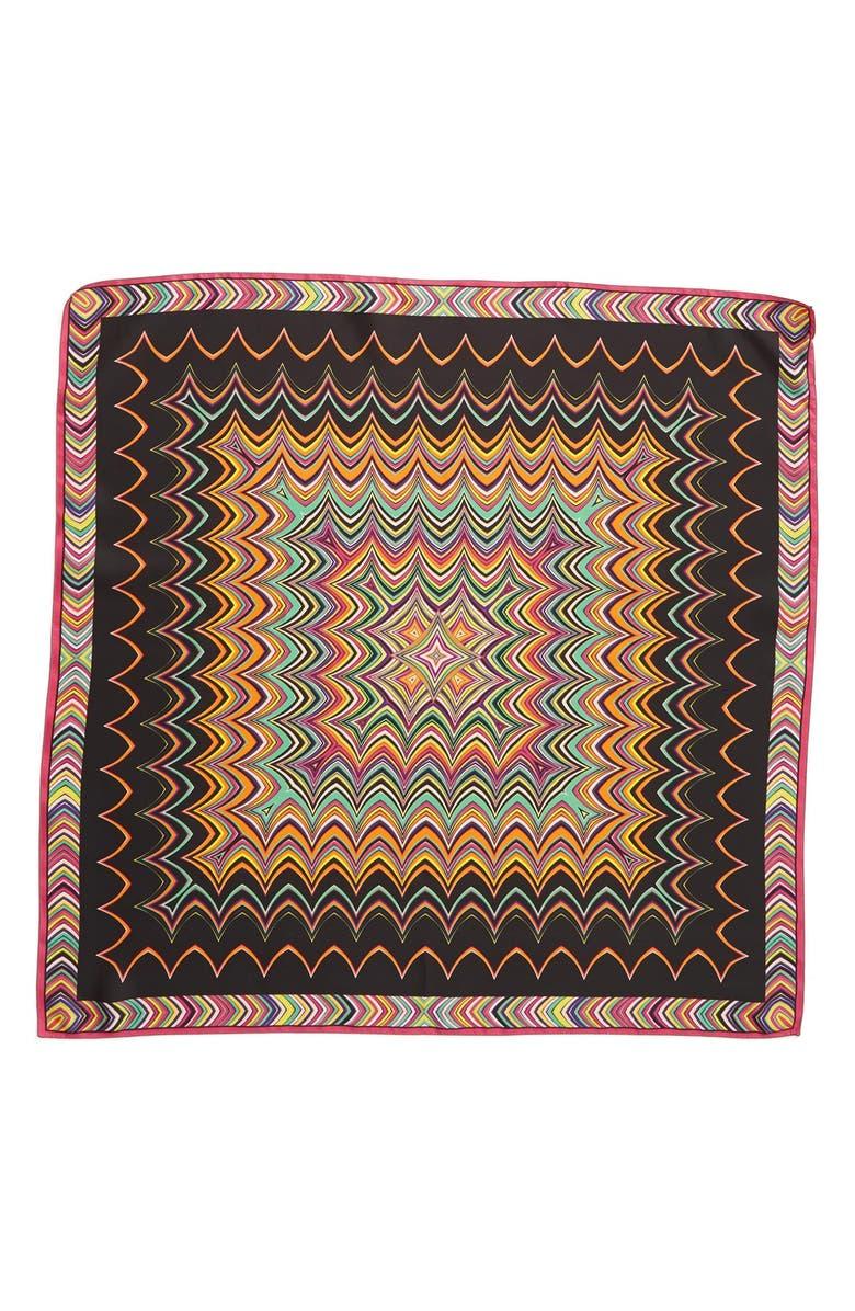 MISSONI Zigzag Square Silk Scarf, Main, color, 001