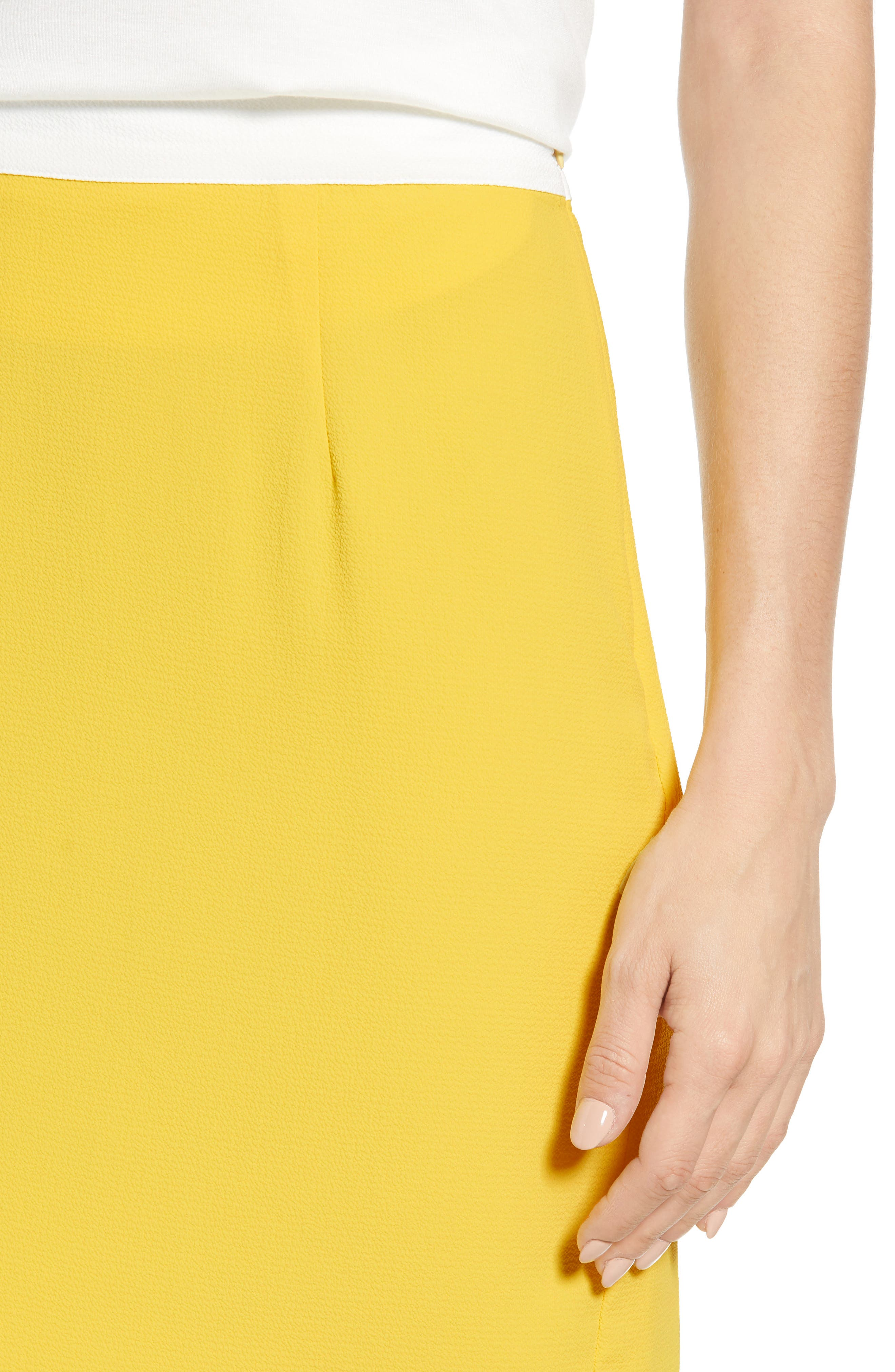 ,                             x Living in Yellow Daphne Scallop Hem Skirt,                             Alternate thumbnail 4, color,                             YELLOW W/ IVORY