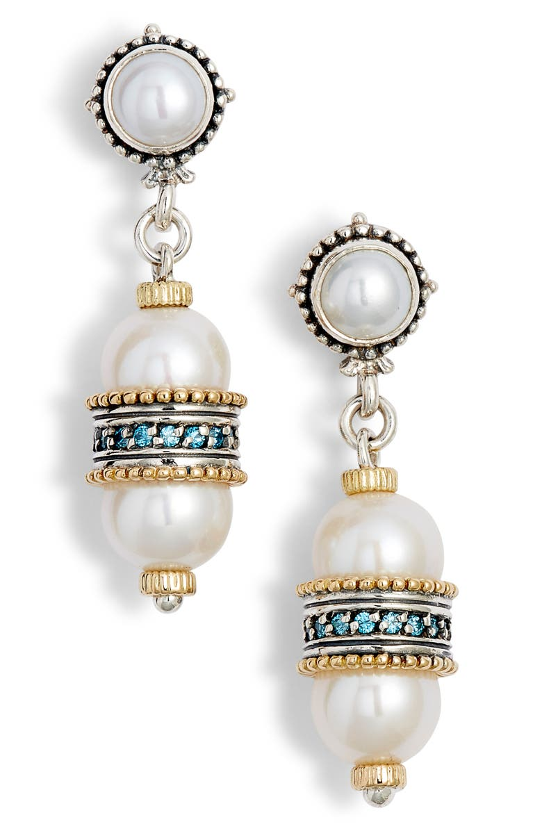 KONSTANTINO Thalia Double Pearl Drop Earrings, Main, color, SILVER/ PEARL