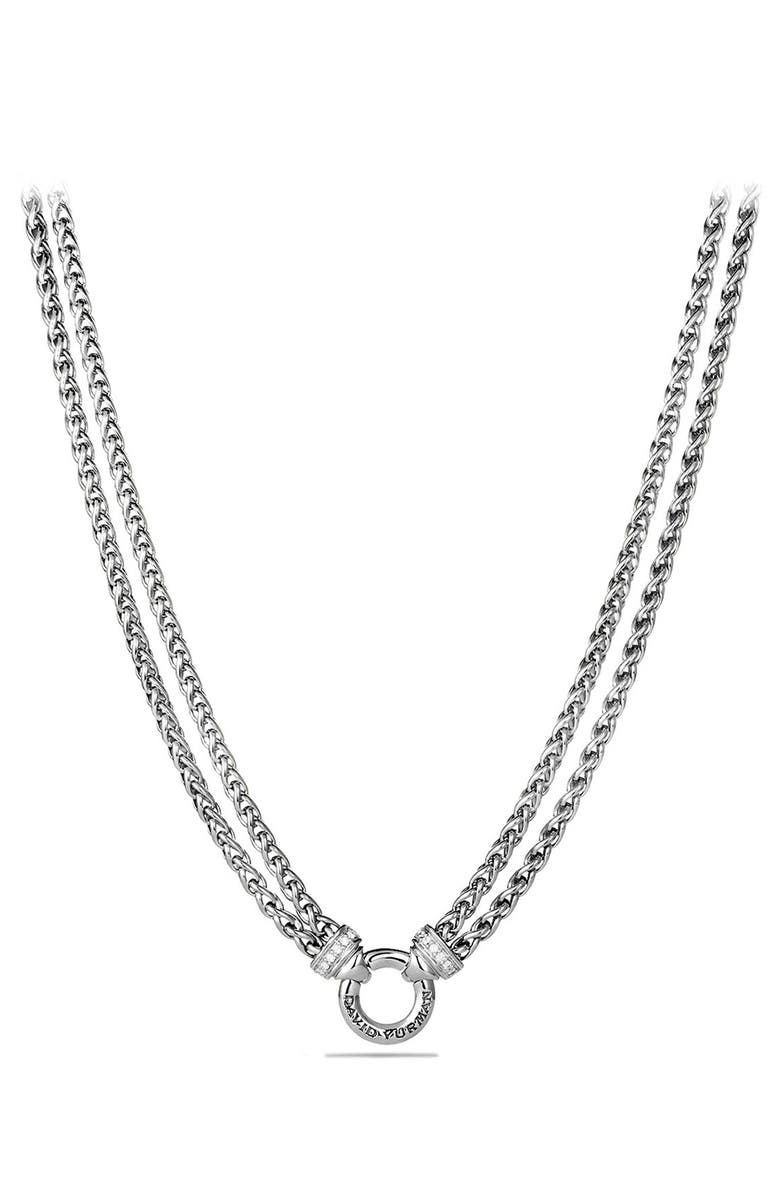 DAVID YURMAN Double Wheat Chain Necklace with Gold, Main, color, DIAMOND