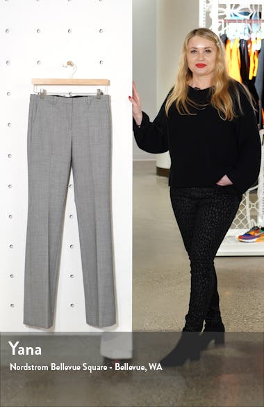Demitria 4 Houndstooth Flare Leg Stretch Wool Pants, sales video thumbnail
