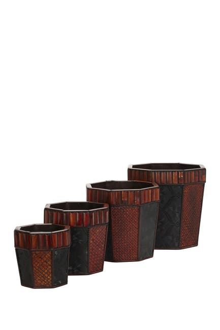Image of NEARLY NATURAL Bamboo Octagon Decorative Planters - Set of 4