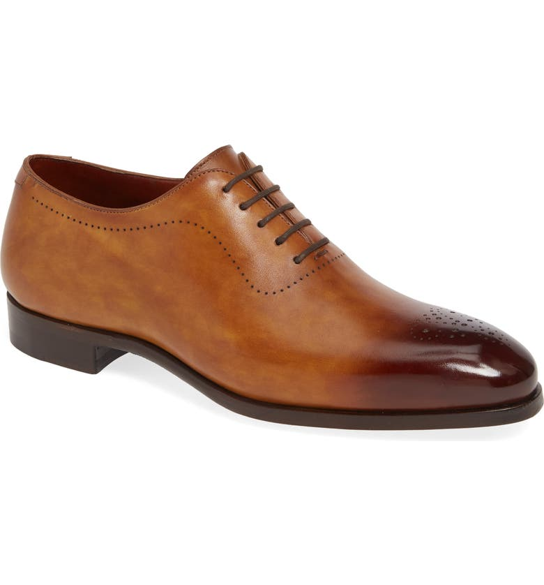 MAGNANNI Bryant Medallion Toe Oxford, Main, color, BROWN LEATHER