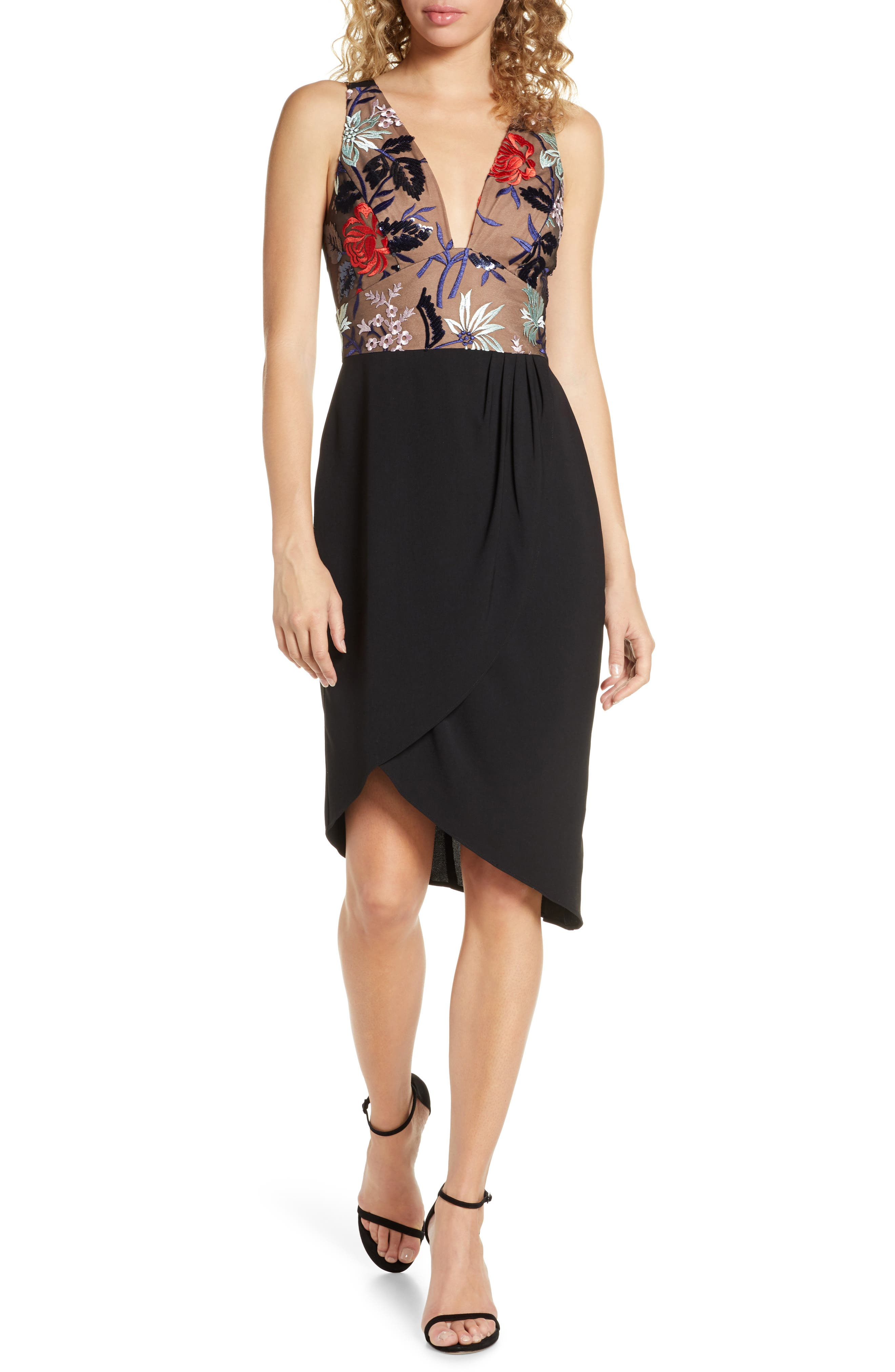 Harlyn Embroidered High/low Dress, Black