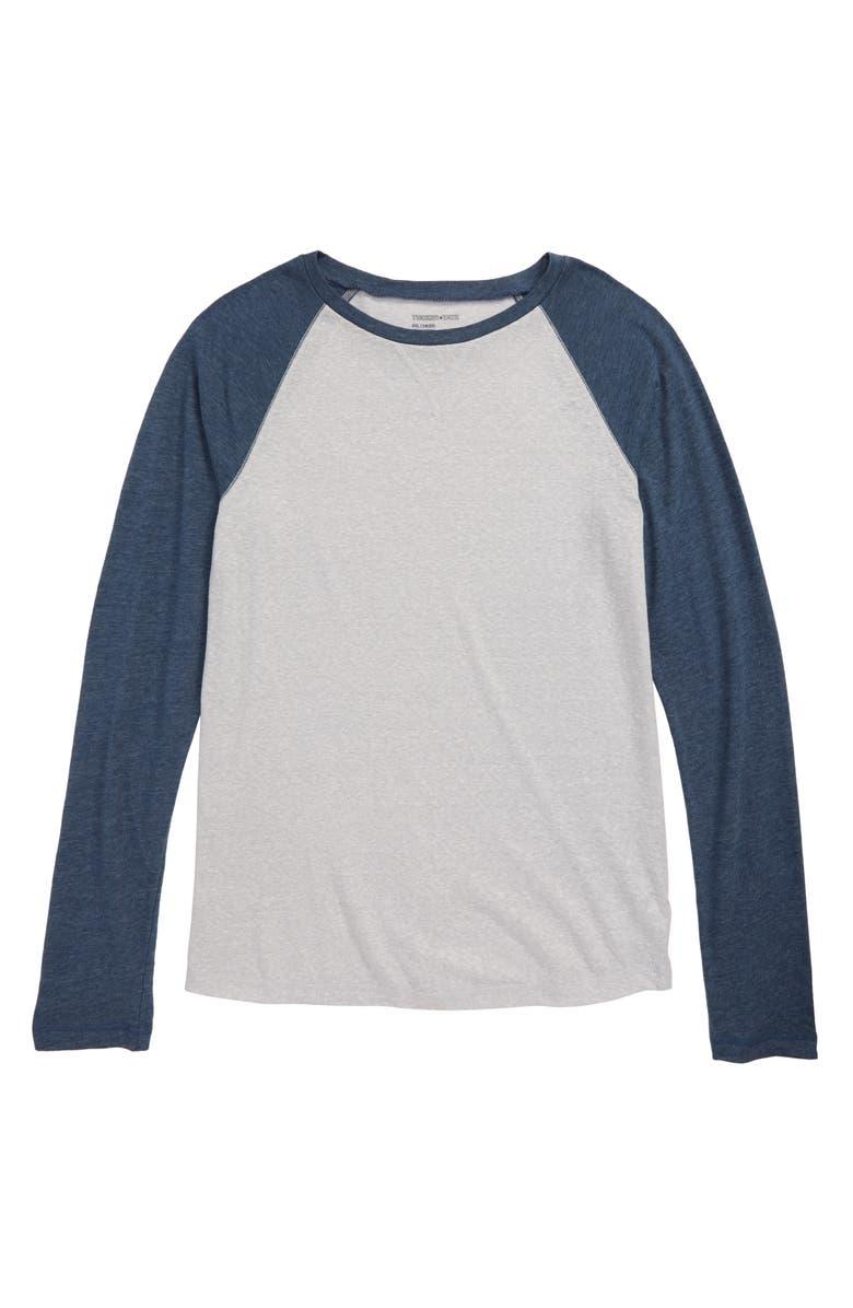 TUCKER + TATE Baseball T-Shirt, Main, color, GREY ASH HEATHER- NAVY