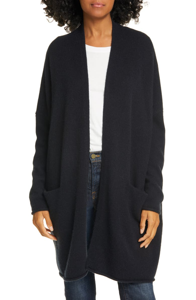 NORDSTROM SIGNATURE Brushed Cashmere Cardigan, Main, color, BLACK