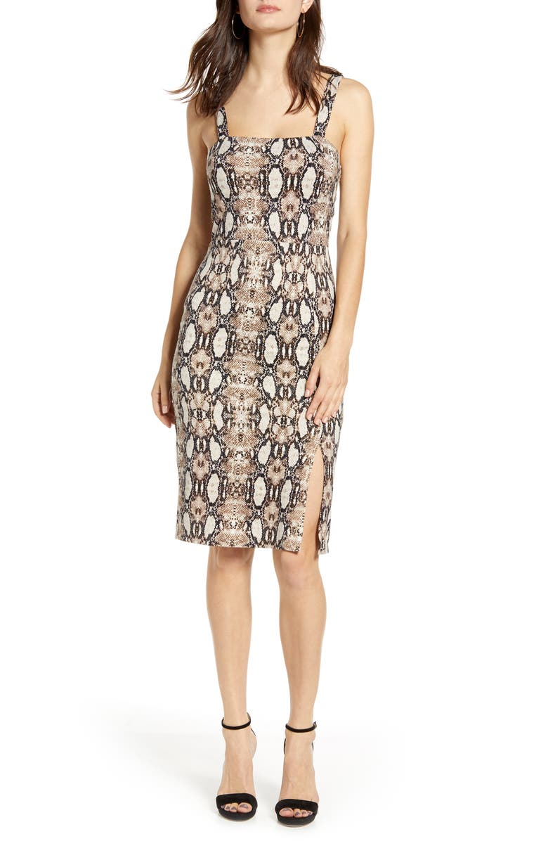 ALL IN FAVOR Square Neck Body-Con Dress, Main, color, SNAKE