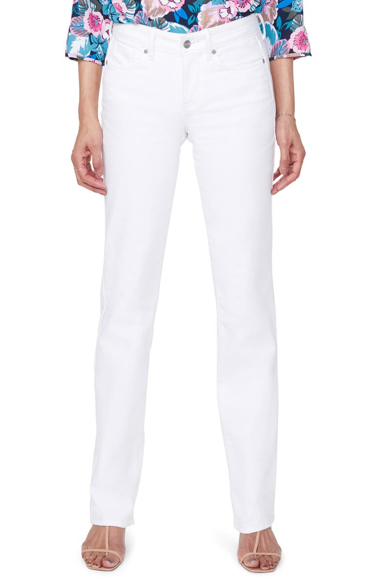 NYDJ Marilyn High Waist Cool Embrace Straight Leg Jeans, Main, color, OPTIC WHITE
