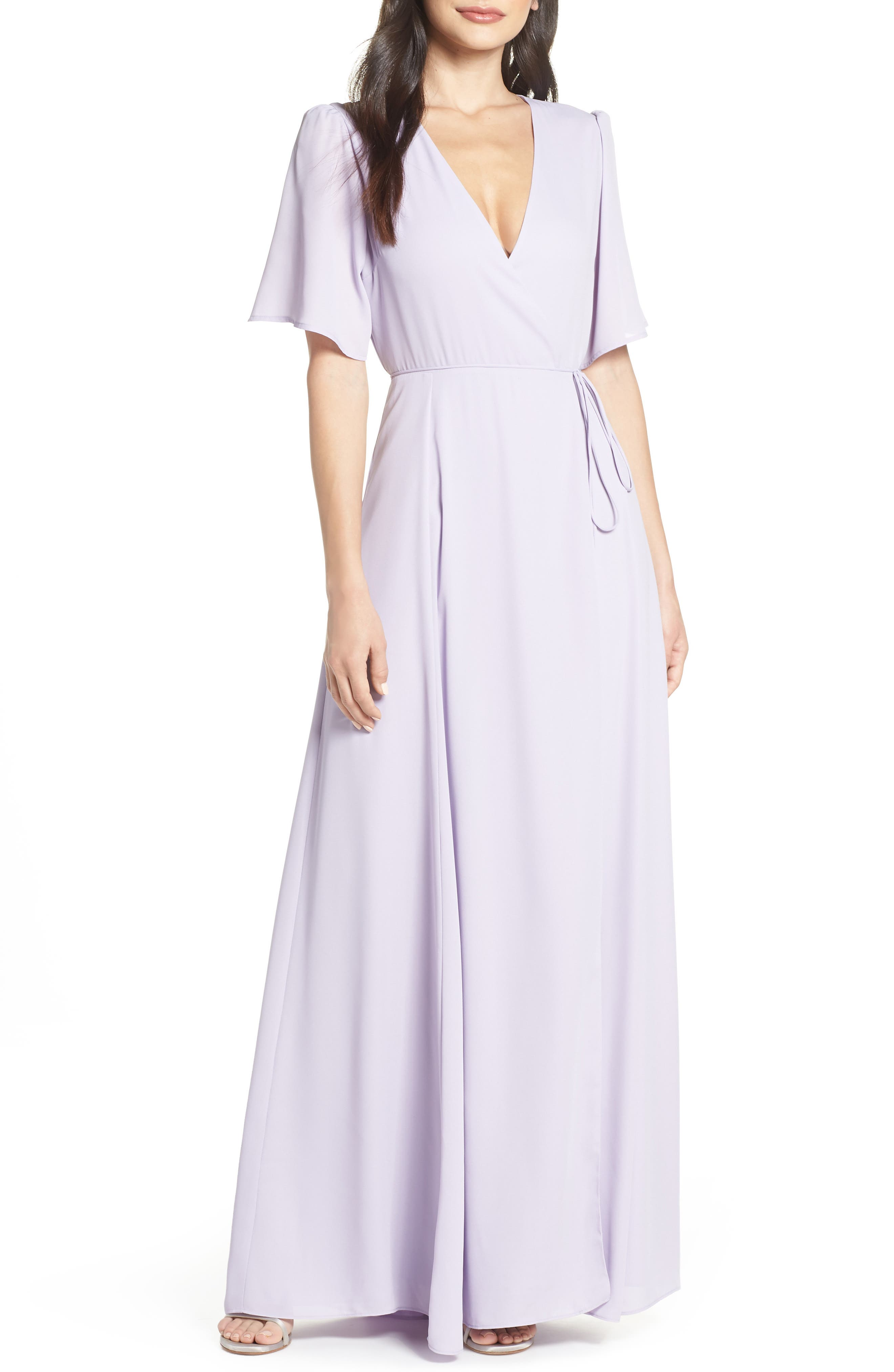 Wayf The Aurelia Short Sleeve Wrap Evening Dress, Purple