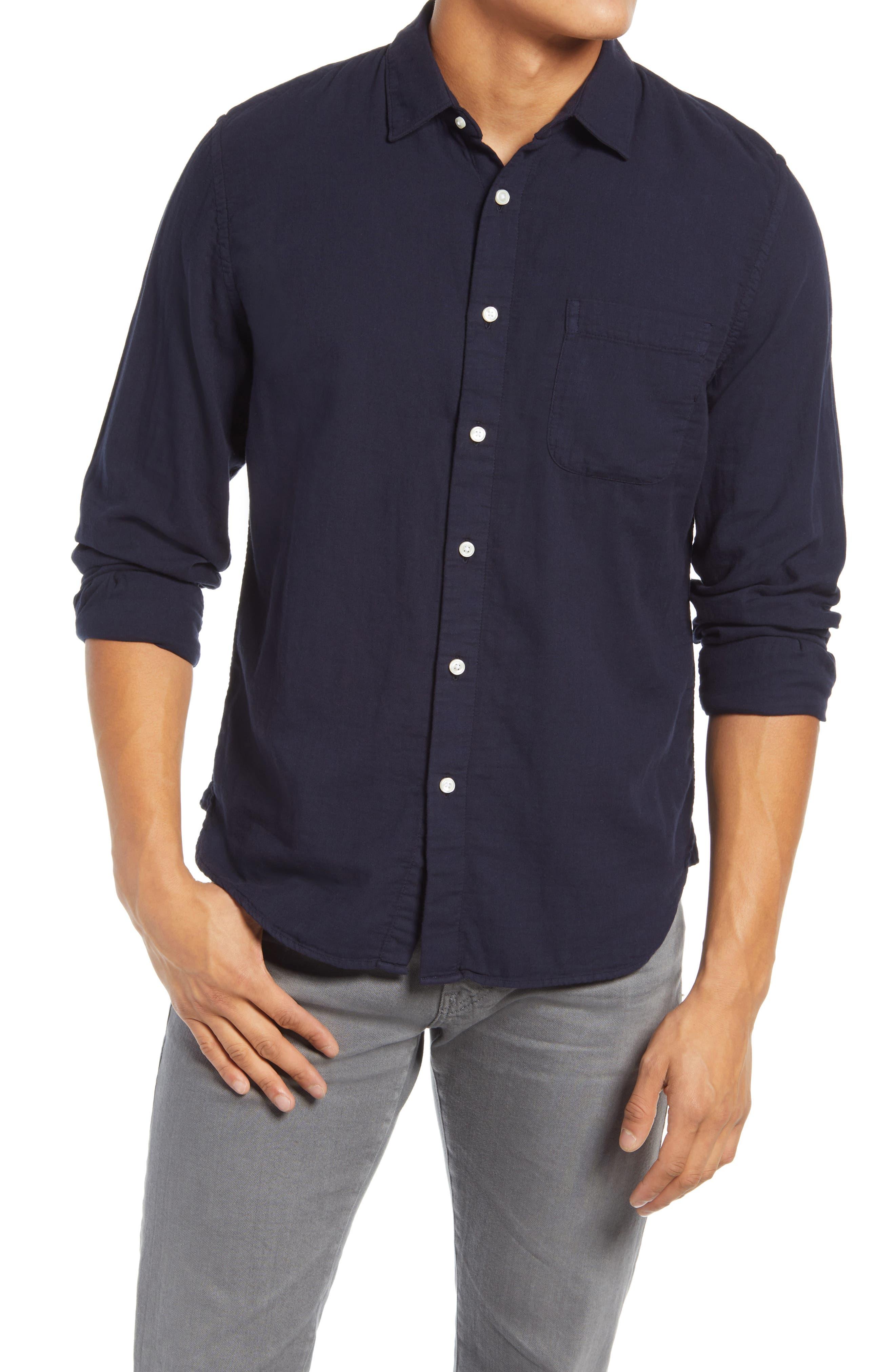 Slim Fit Double Gauze Organic Cotton Button-Up Shirt
