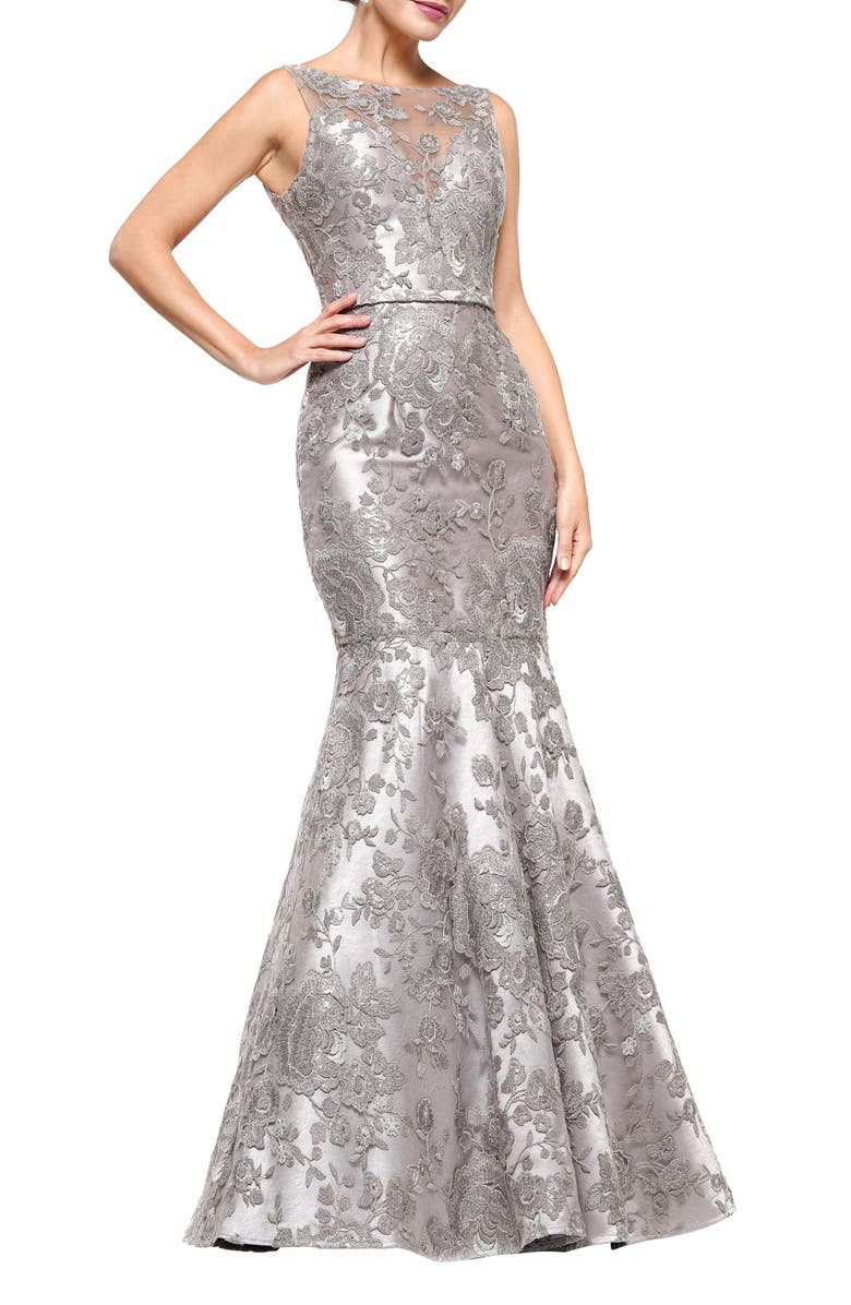 MARSONI Metallic Lace Trumpet Gown, Main, color, TAUPE