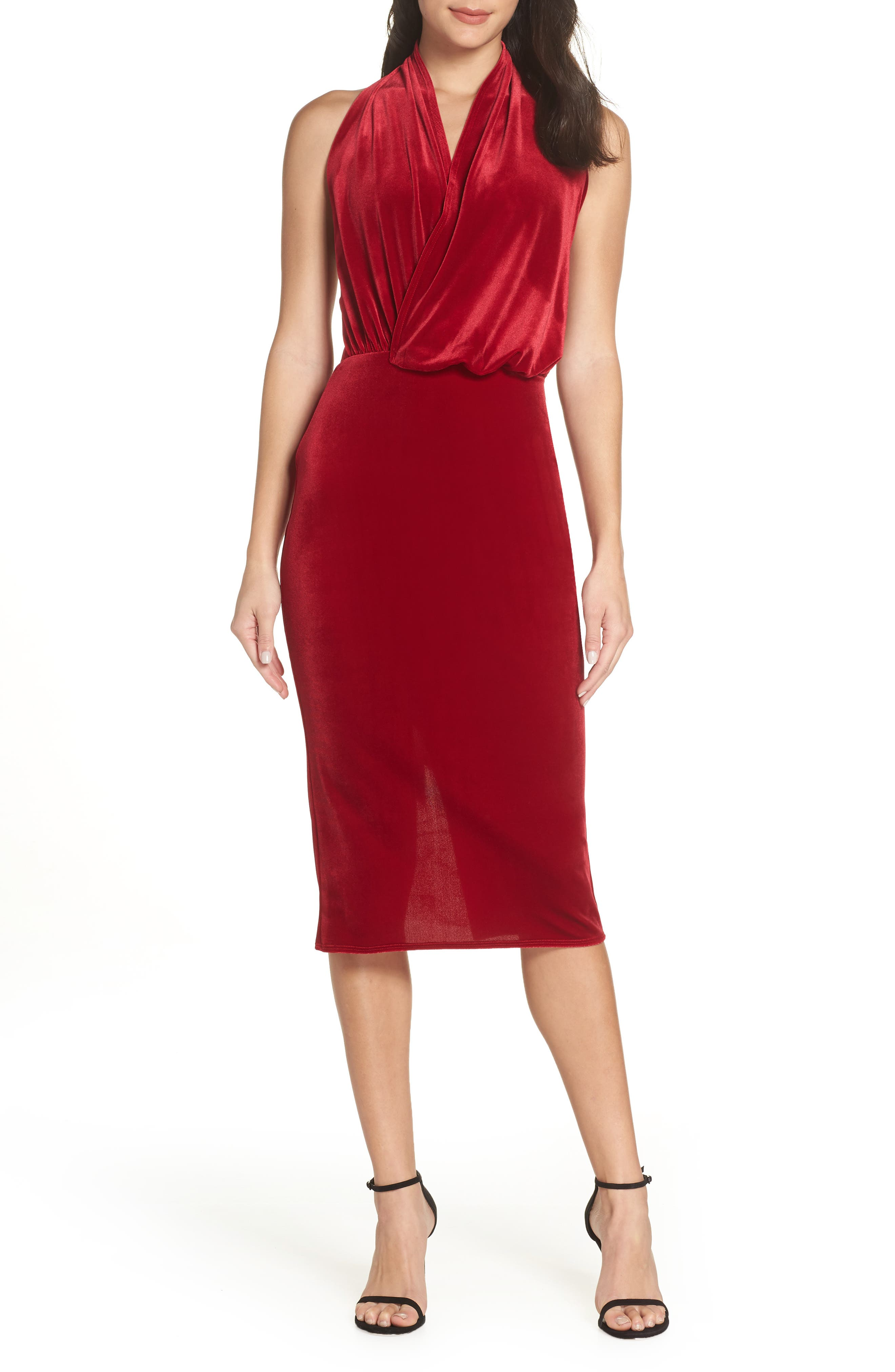 Katie May Asymmetrical Drape Surplice Halter Cocktail Dress