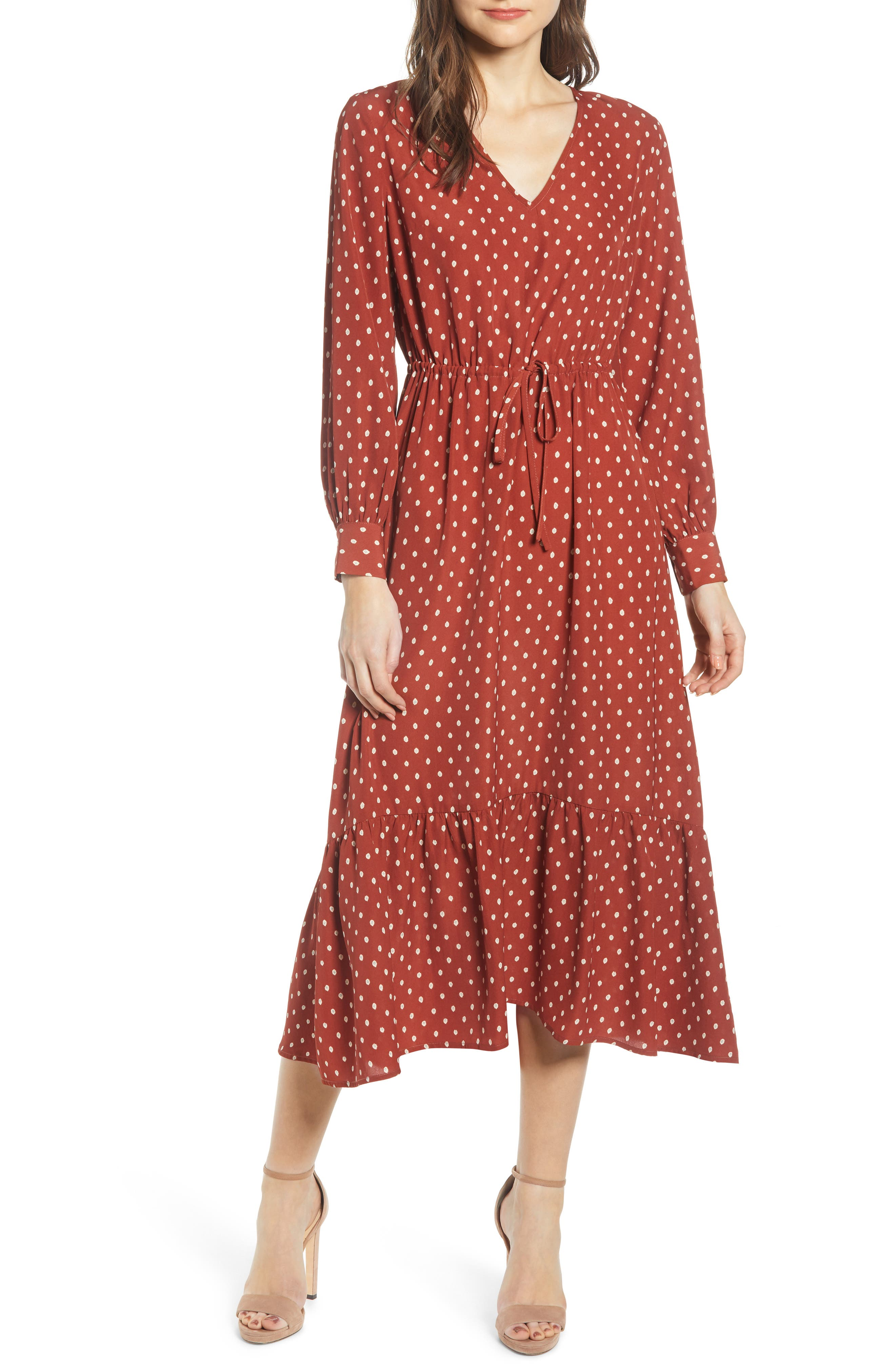 All In Favor Polka Dot Maxi Dress, Red