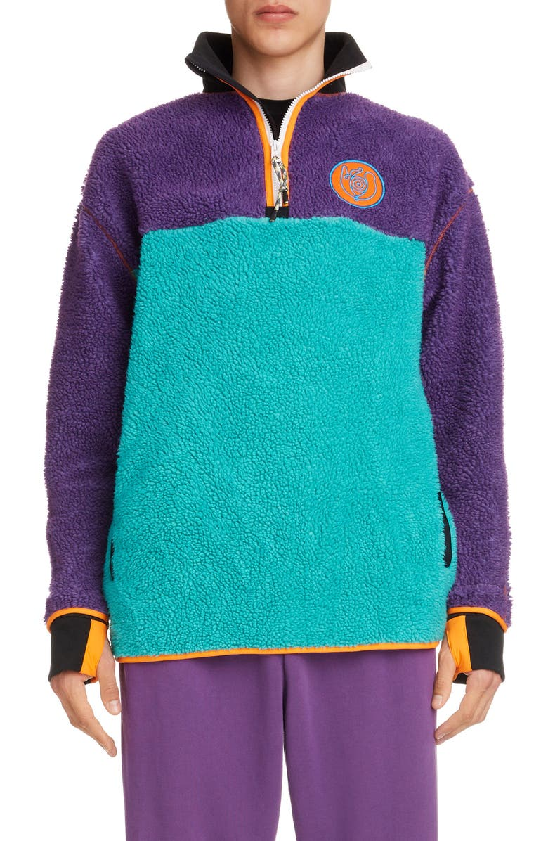 EYE/LOEWE/NATURE Colorblock Quarter Zip Fleece Pullover, Main, color, 400