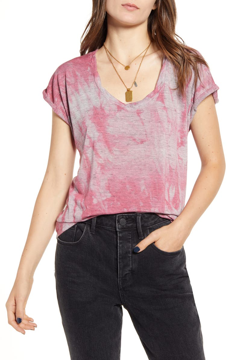 TREASURE & BOND Updated Washed Tee, Main, color, PINK MAUVE CLOUDY