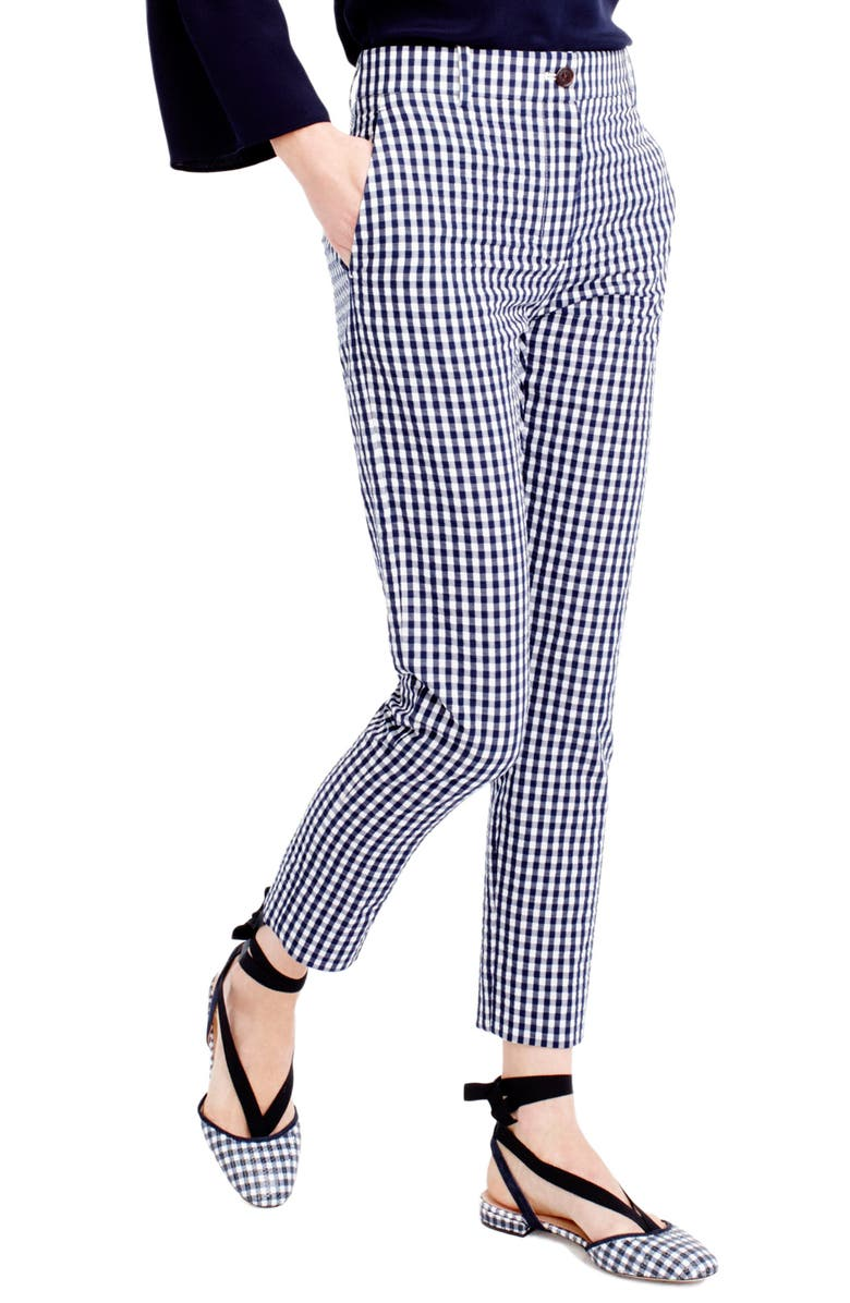 J.CREW Puckered Gingham Cigarette Pants, Main, color, 400