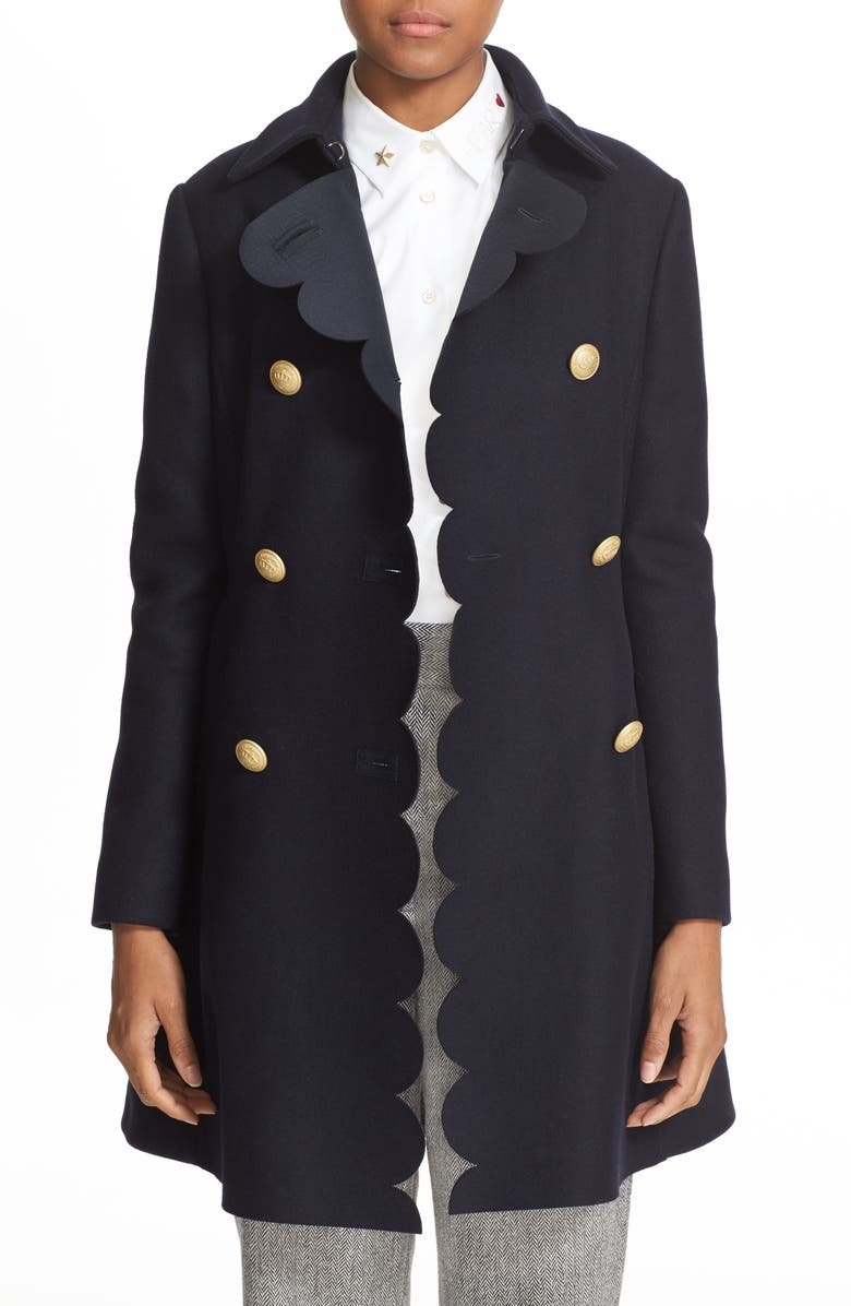 RED VALENTINO Double Breasted Wool Blend Coat, Main, color, 410