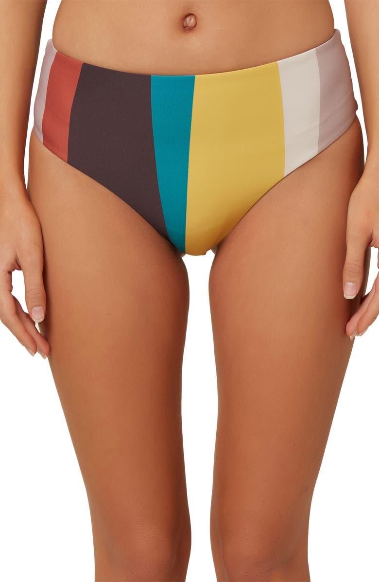 O'NEILL Sapa Stripe High Waist Bikini Bottoms, Main, color, 600