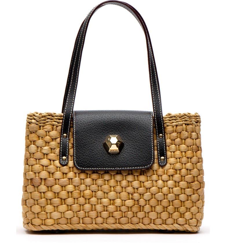 FRANCES VALENTINE Woven Shoulder Bag, Main, color, BLACK