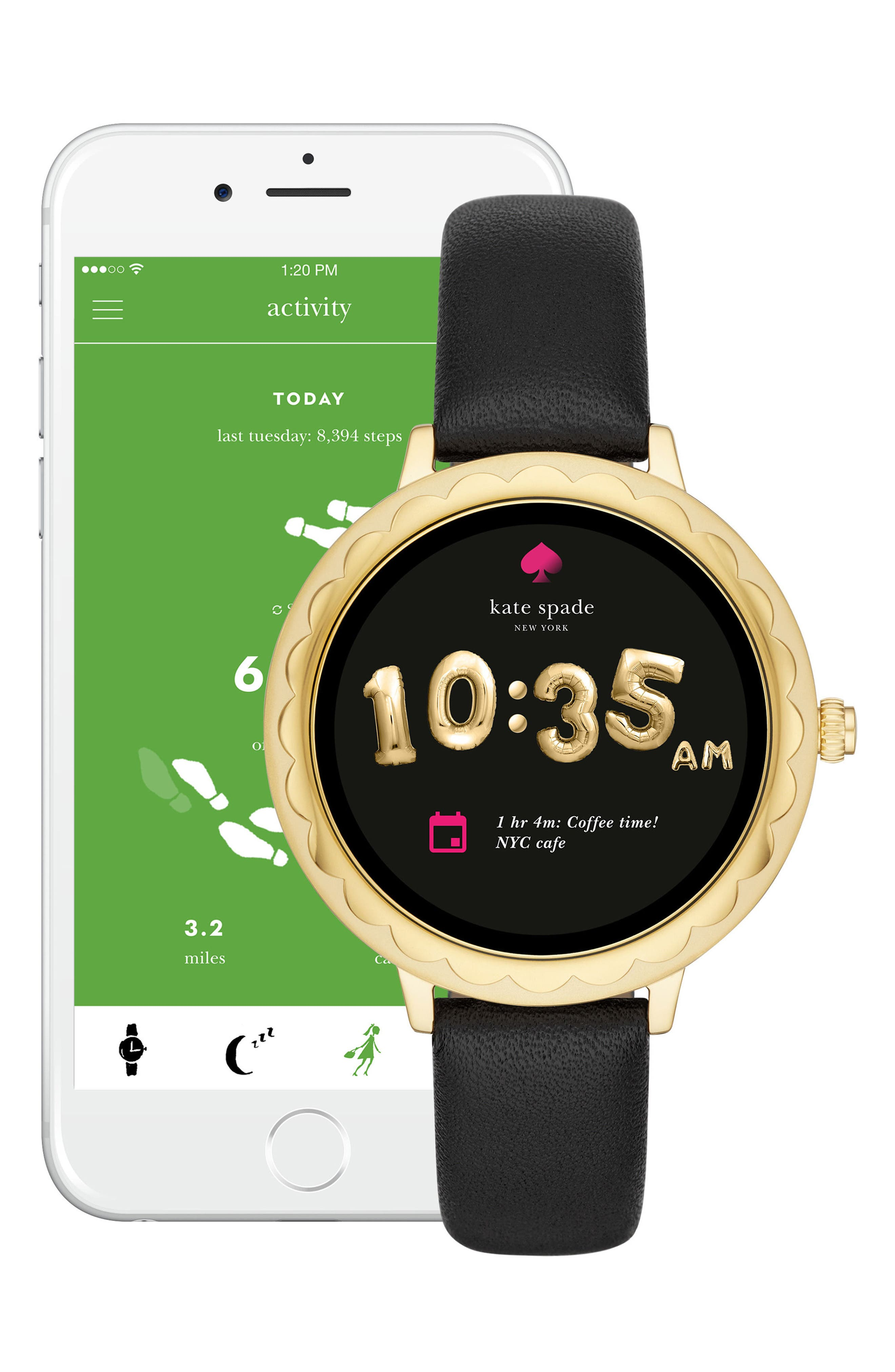 ,                             scallop leather strap touchscreen smart watch, 42mm,                             Alternate thumbnail 5, color,                             BLACK/ GOLD
