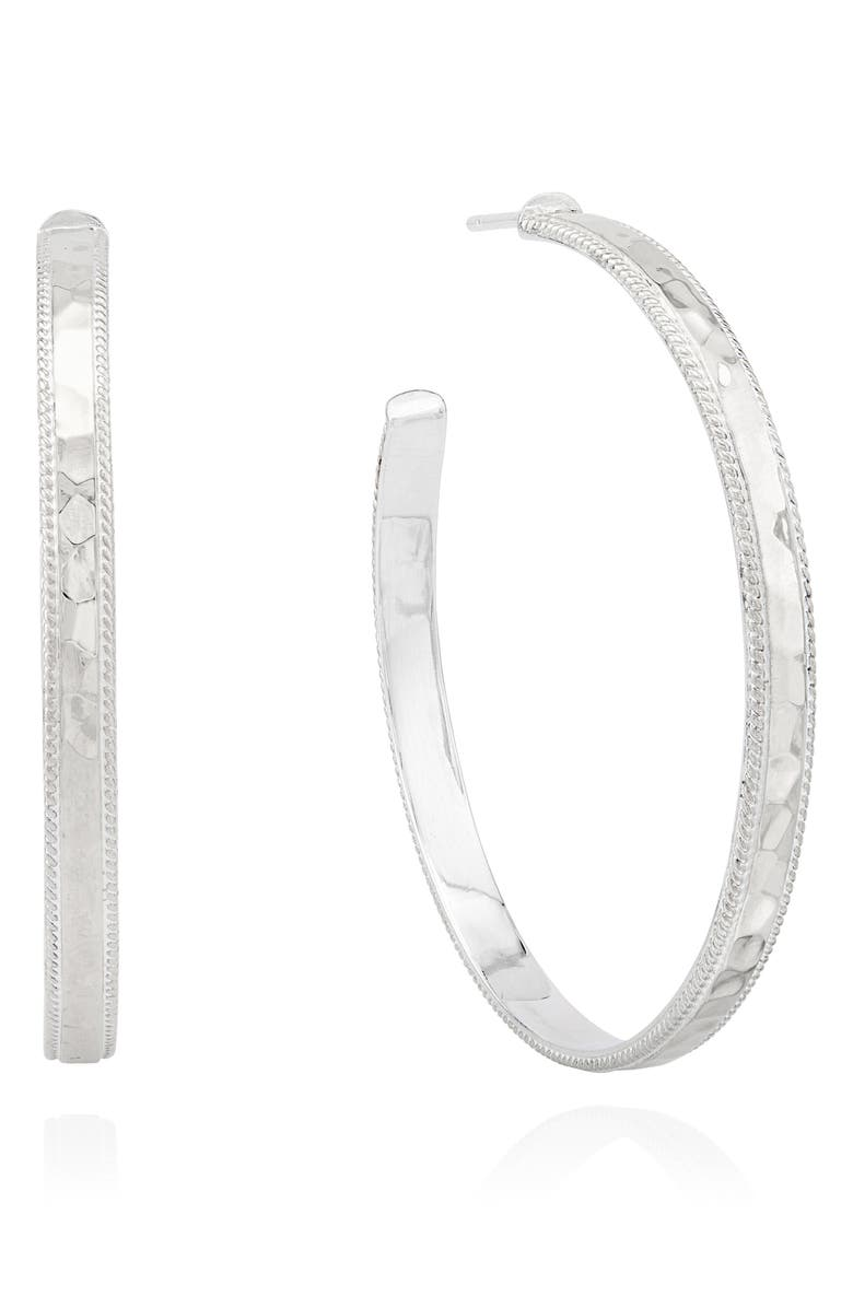 ANNA BECK Large Hammered Hoop Earrings, Main, color, SILVER
