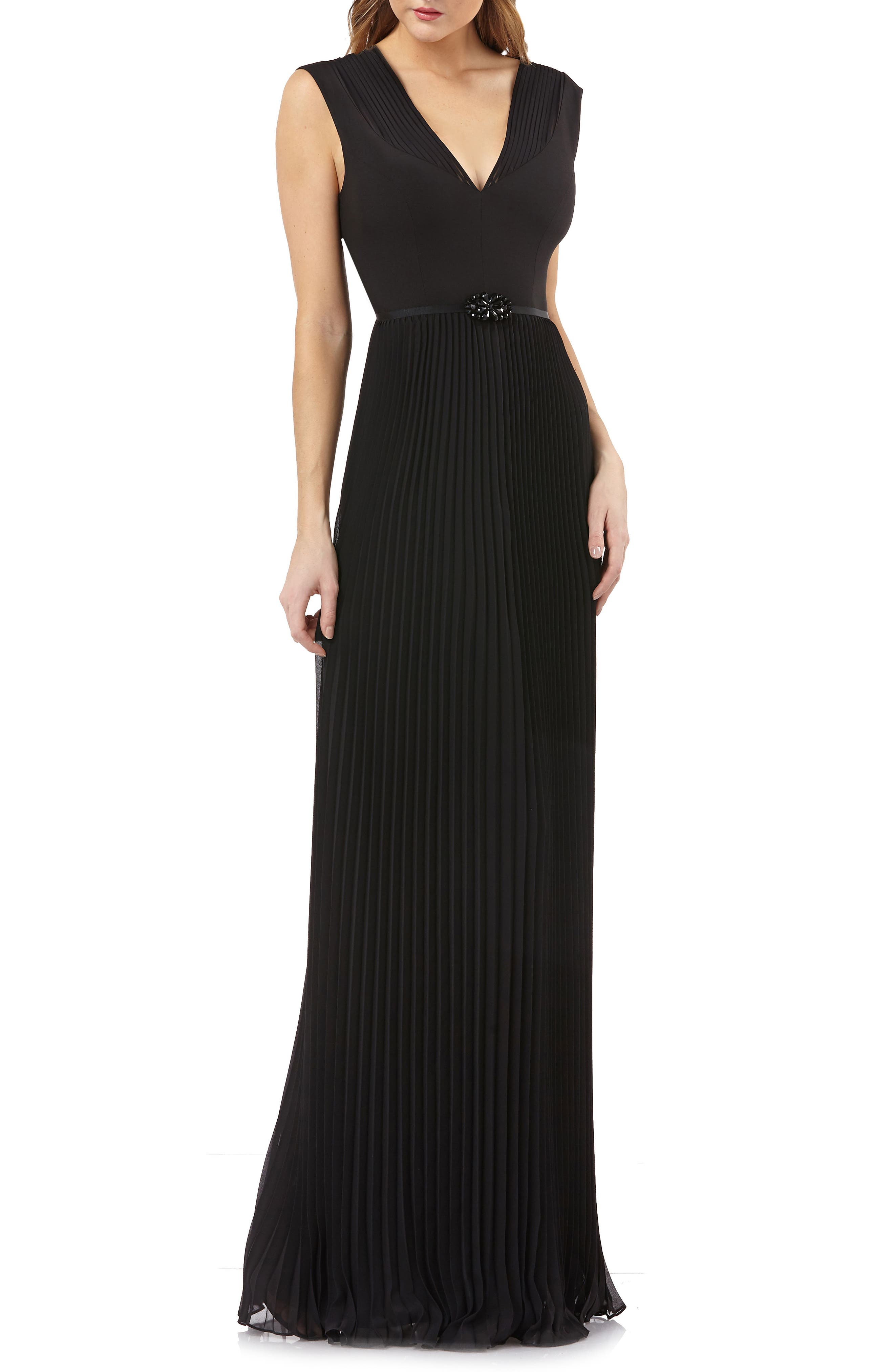 Kay Unger Sleeveless Pleated Gown, Black
