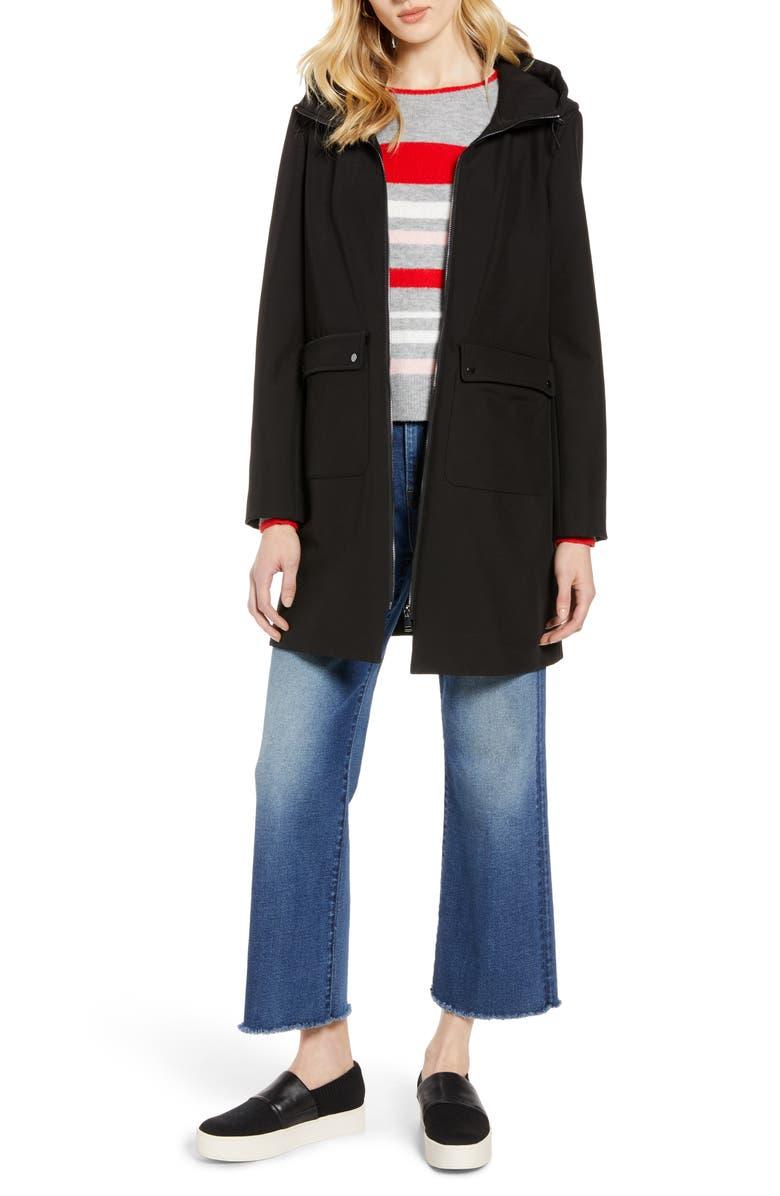 HALOGEN<SUP>®</SUP> Hooded Raincoat, Main, color, BLACK