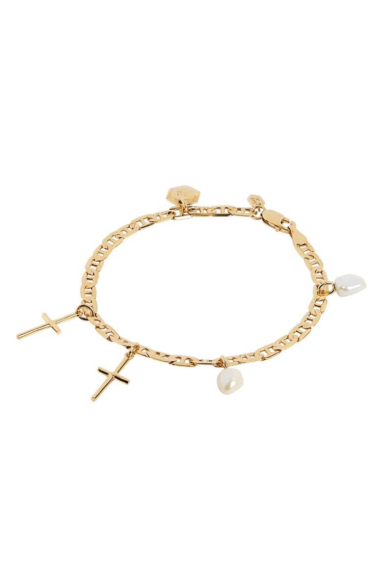 MARIA BLACK A Pause Cross Charm Bracelet, Main, color, GOLD