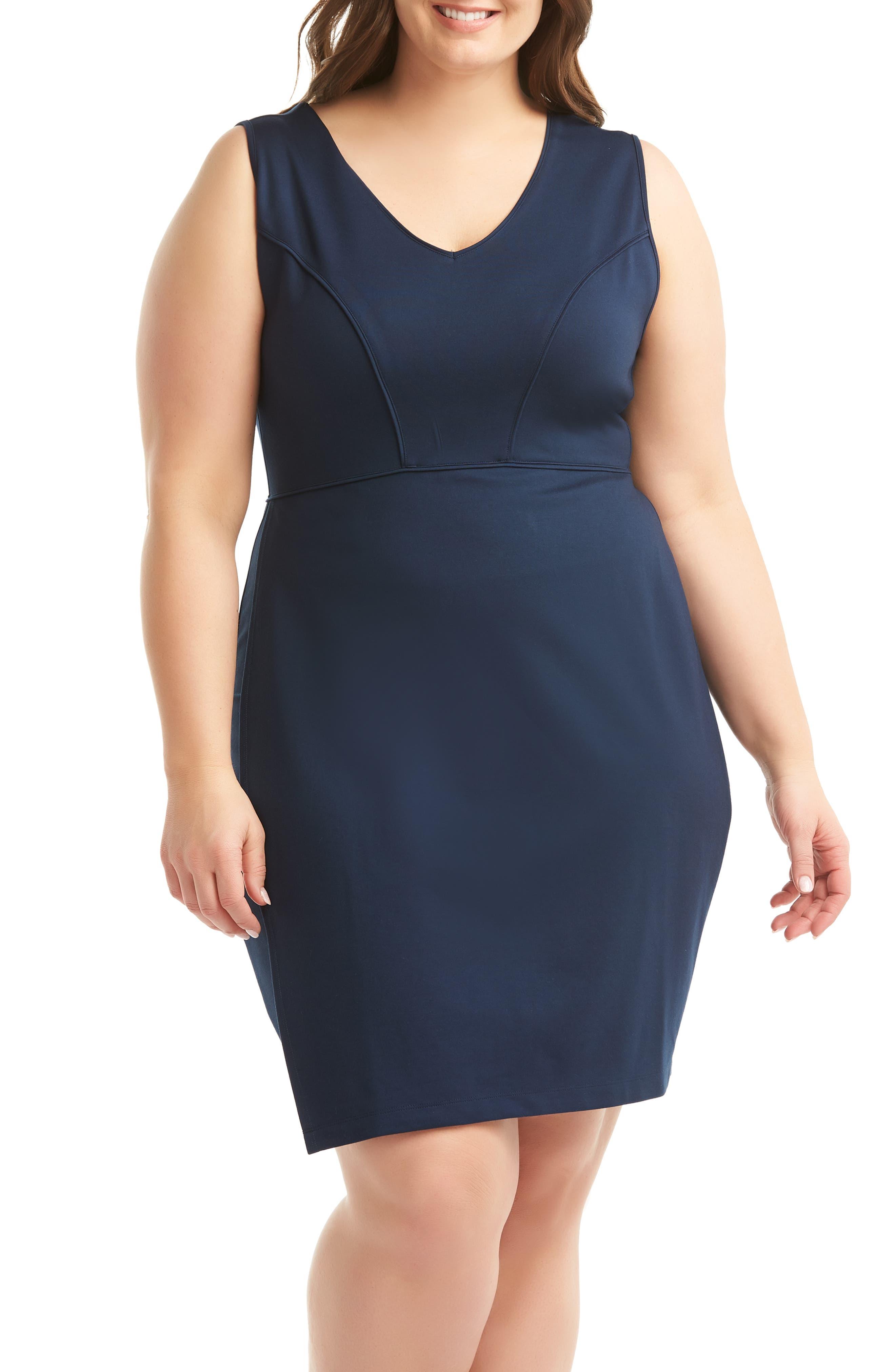 Plus Size Lemon Tart Aliyah Sleeveless Sheath Dress, Blue