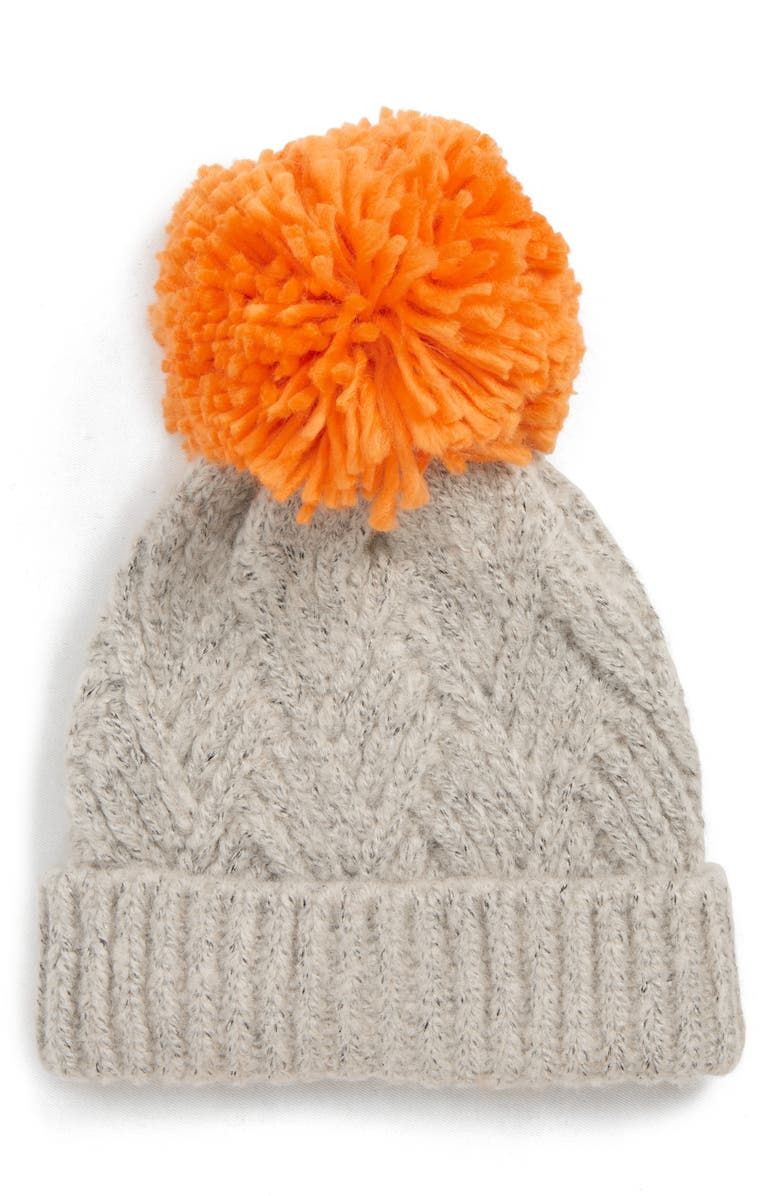 TOPSHOP Chevron Knit Beanie Hat, Main, color, 020